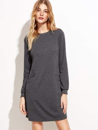 Grey Pocket Front Long Sleeve Sweatshirt Dress