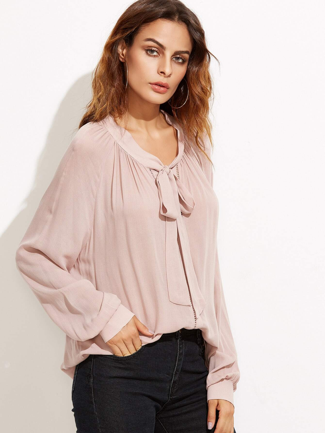 Pink Tie Neck Blouse 76