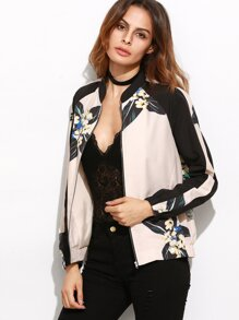 Color Block Flower Print Raglan Sleeve Bomber Jacket