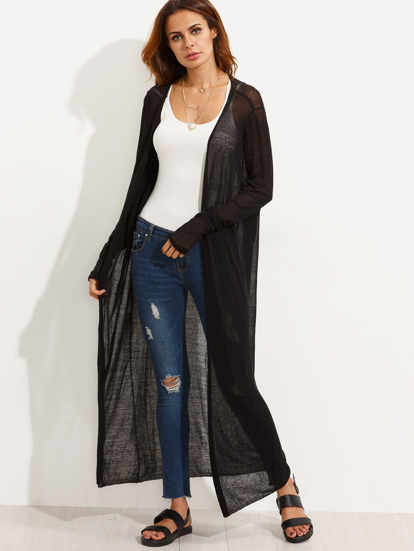 Black Open Front Sheer Maxi Cardigan -SheIn(Sheinside)