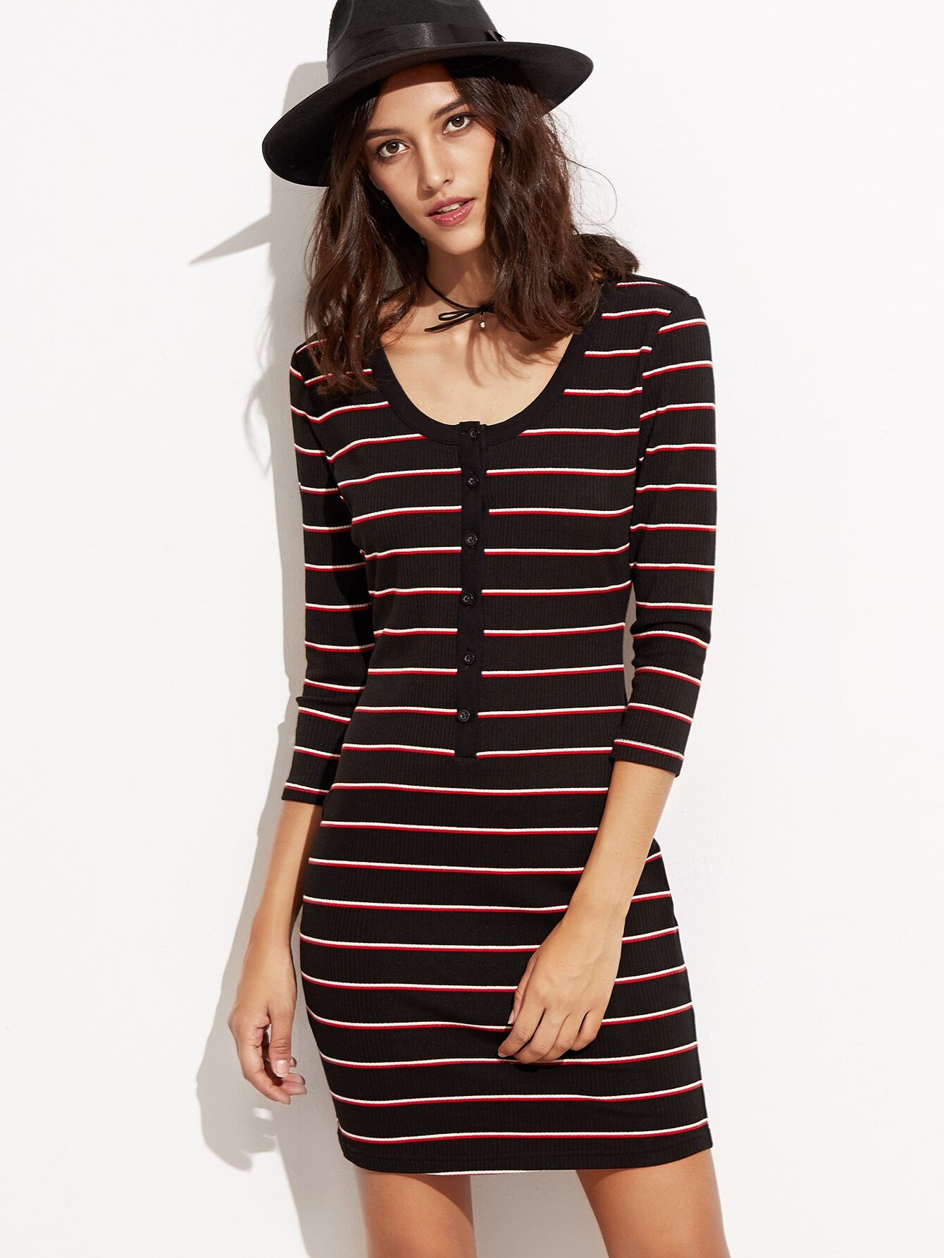 Black Striped Button Front Ribbed Sheath Dress dress160909508
