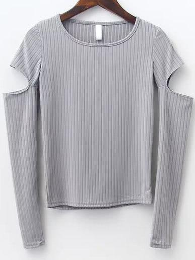 Grey Round Neck Cutout Sleeve T-shirt tee160912201