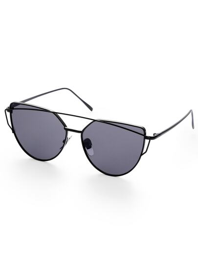 Black Lenses Cat Eye Metal Frame Sunglasses
