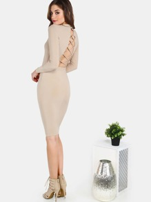 Backless Crossback Mock Neck Midi Bodycon Dress TAUPE