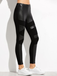 Black Contrast Faux Leather Leggings