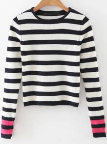 Black Striped Contrast Sleeve Crop Knitwear