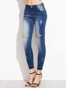 Blue Ripped Bleach Wash Skinny Jeans