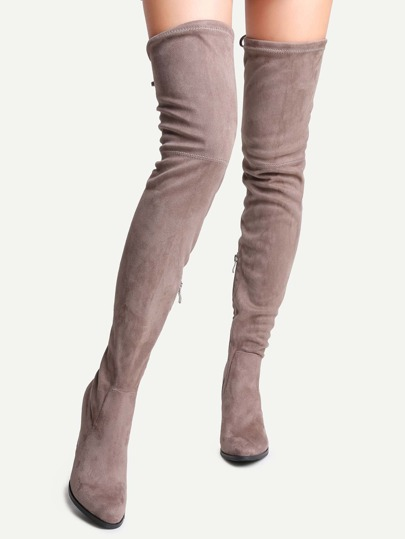 Brown Faux Suede Tie Back Over The Knee Boots