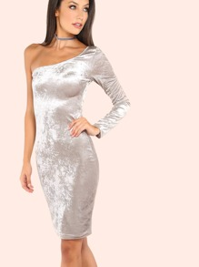 One Shoulder Velvet Bodycon Dress SILVER