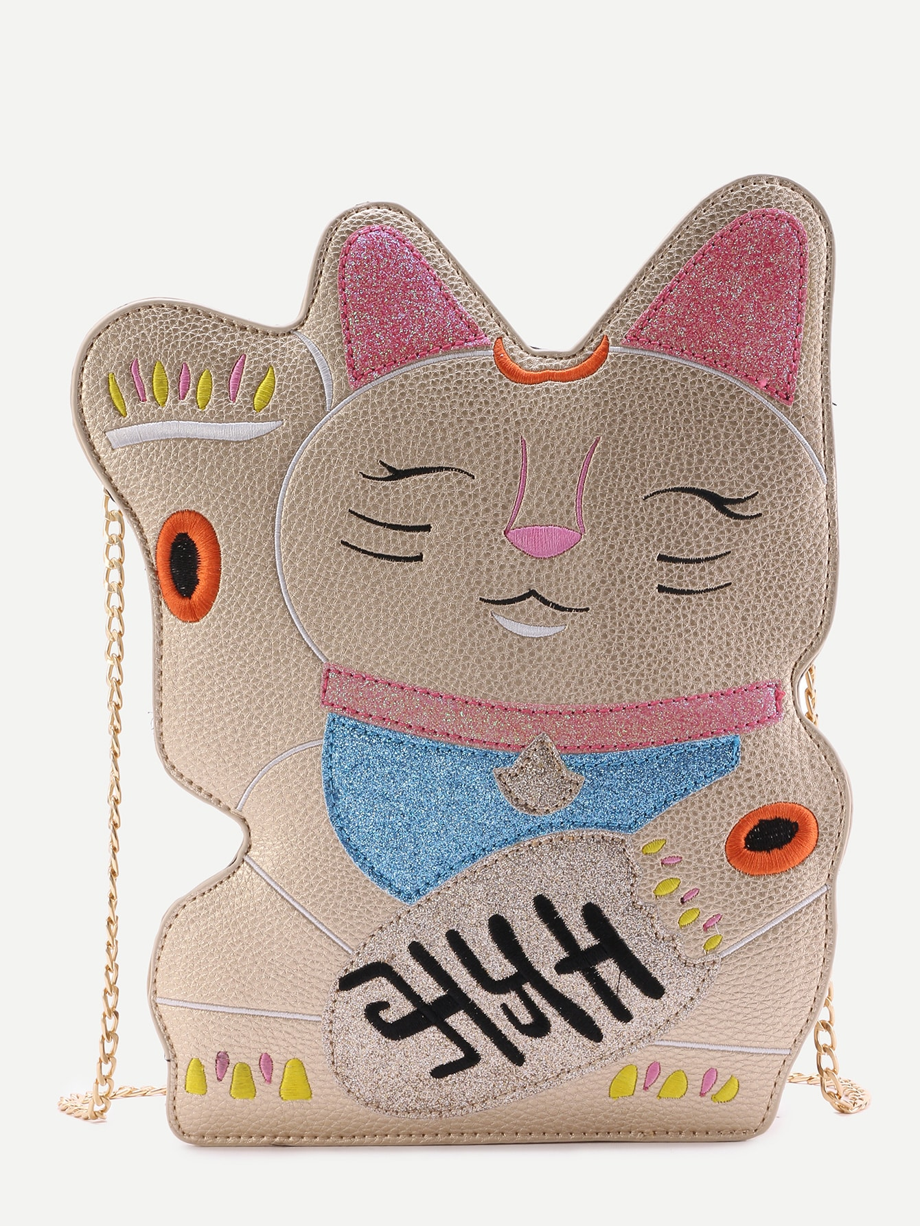 Gold Plutus Cat Shaped PU Chain Bag
