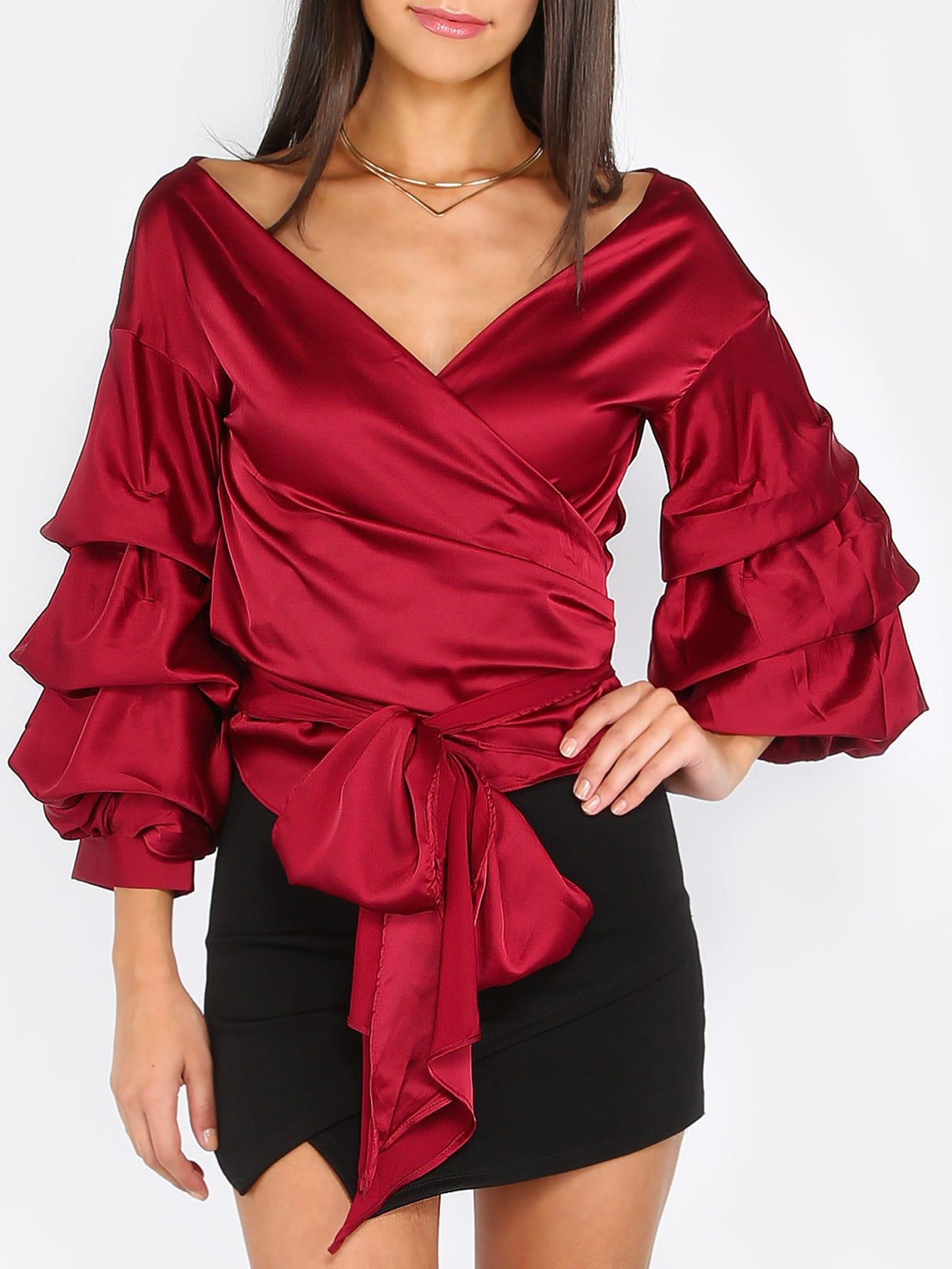 Фото Billow Sleeve Tie Waist Wrap Top WINE. Купить с доставкой