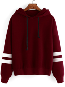 Burgundy Drop Shoulder Varsity Striped Hooded Sweatshirt