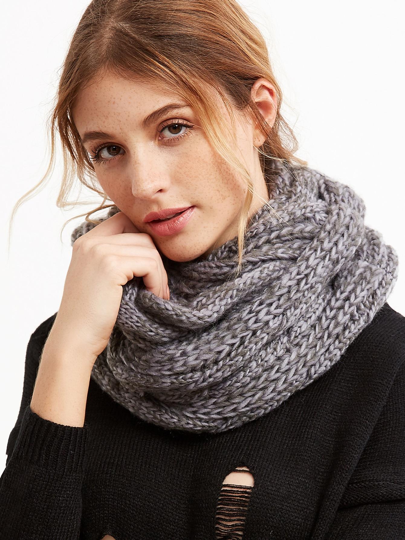 Grey Chunky Knit Scarf шарф fundamentals knit scarf