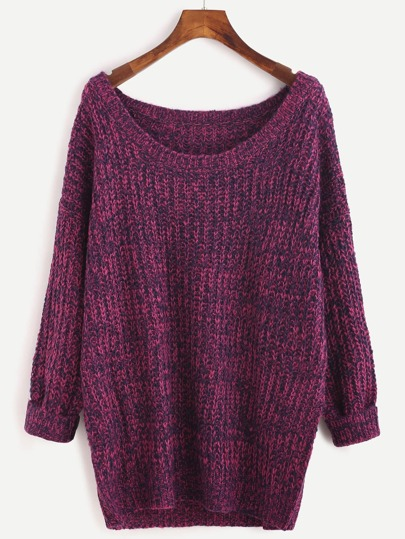 Rose Red Round Neck Long Sleeve Pullover Sweater