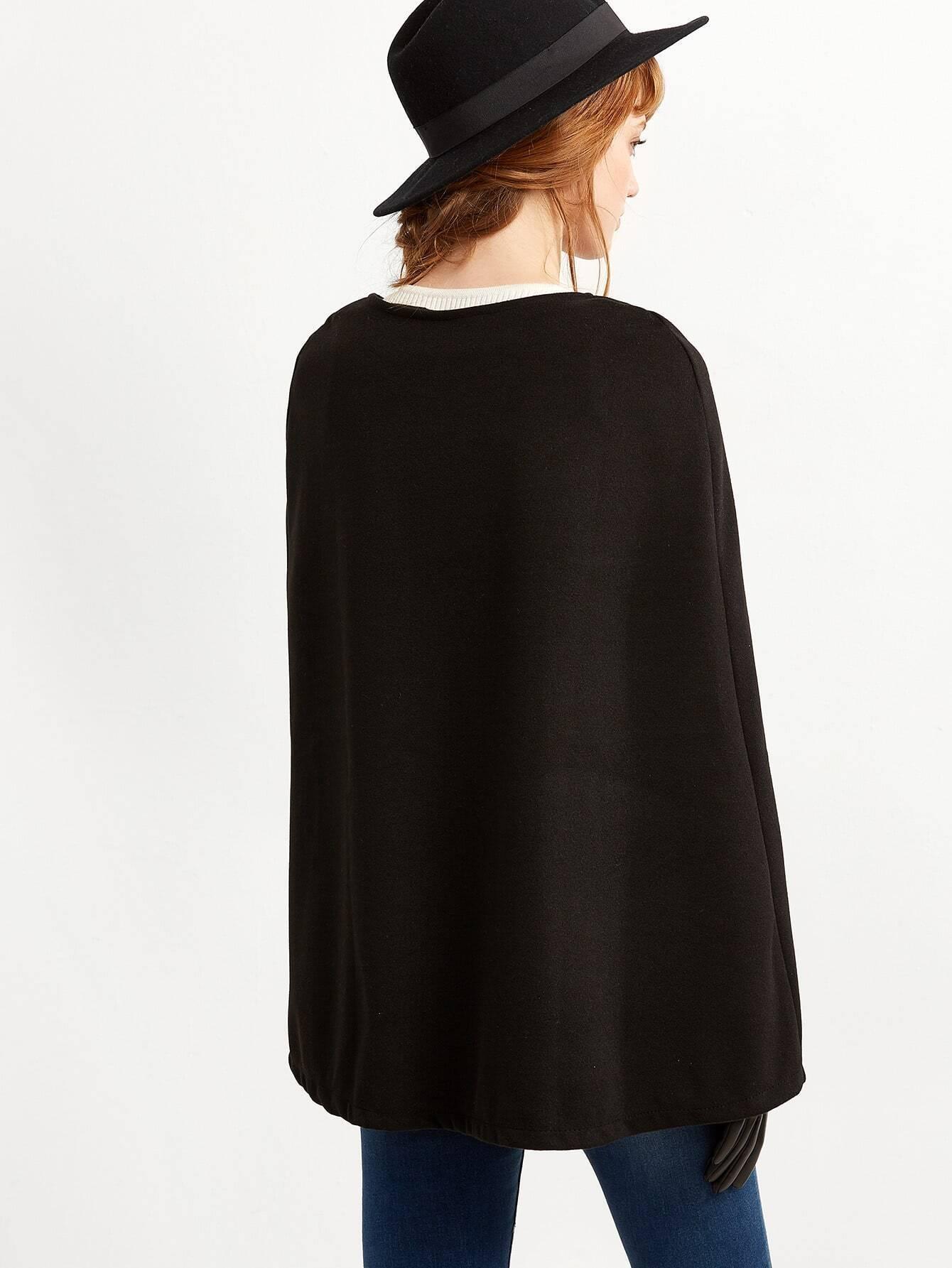 einreiher cape mantel schwarz german shein sheinside. Black Bedroom Furniture Sets. Home Design Ideas