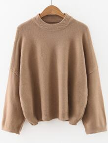 Khaki Crew Neck Drop Shoulder Sweater