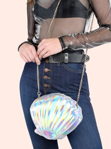 Hologram Shell Chain Purse WHITE HOLOGRAM