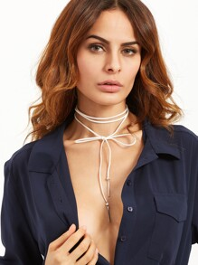 White Bow Metal Bar Pendant Wrap Choker Necklace