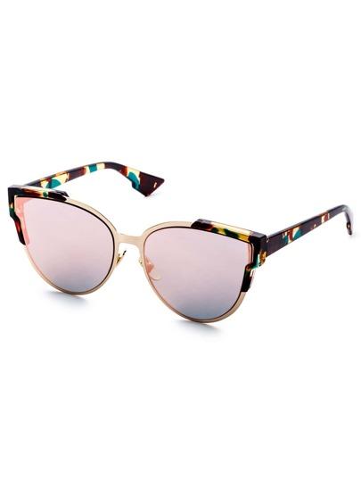 Multicolor Open Frame Pink Lens Cat Eye Sunglasses