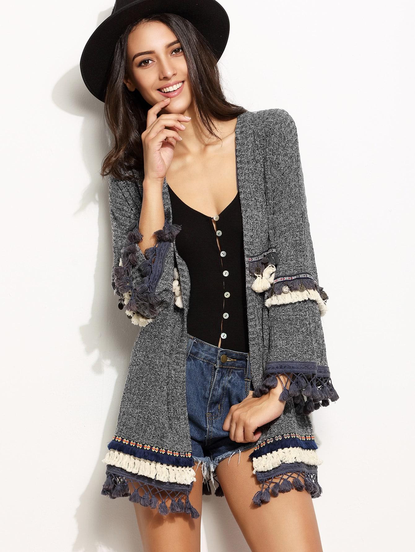 Grey Marled Knit Cardigan With Embroidered Tape And Fringe Detail пылесборник для сухой уборки topperr er 2