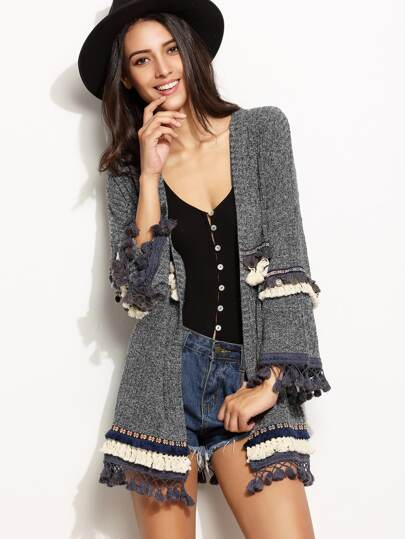 Grey Marled Knit Cardigan With Embroidered Tape And Fringe Detail