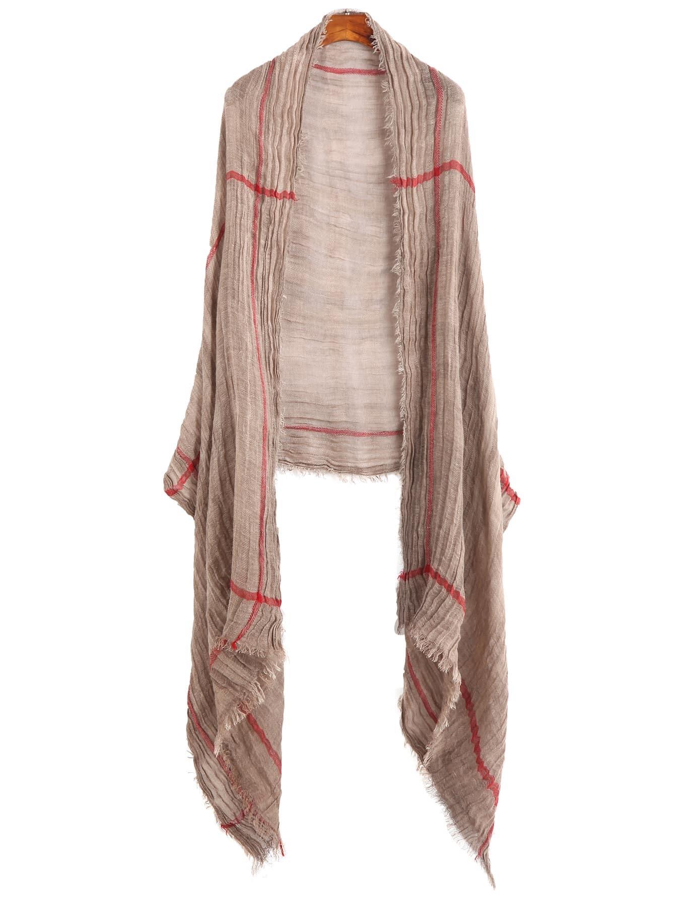 Coffee Plaid Raw Edge Scarf scarf160909002