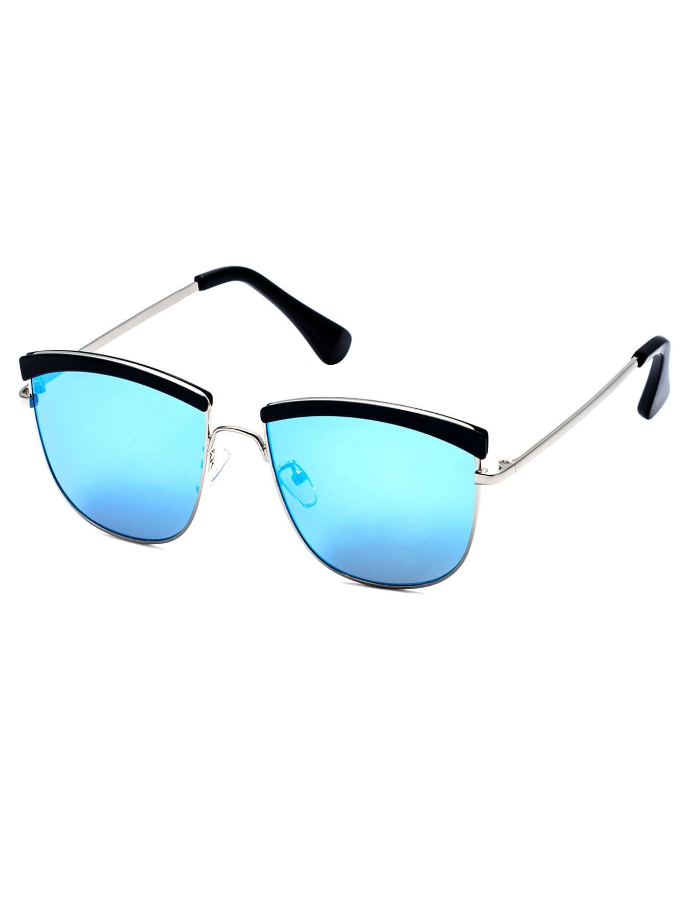 Silver Frame Blue Lens Sunglasses sunglass160913307
