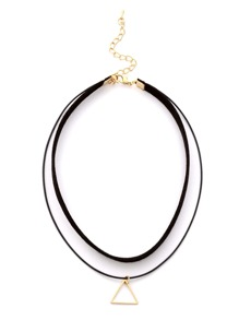 Black Double Layer Hollow Triangle Choker Necklace