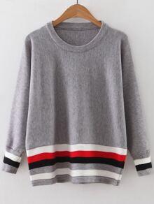 Grey Color Block Ribbed Trim Knitwear