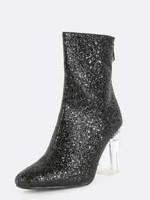 Glitter Perspex Ankle Booties BLACK