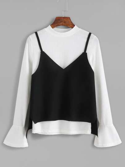 White Mock Neck Bell Sleeve Ribbed Top With Cami Top