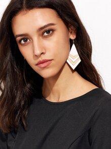 White Geometric Statement Drop Earrings