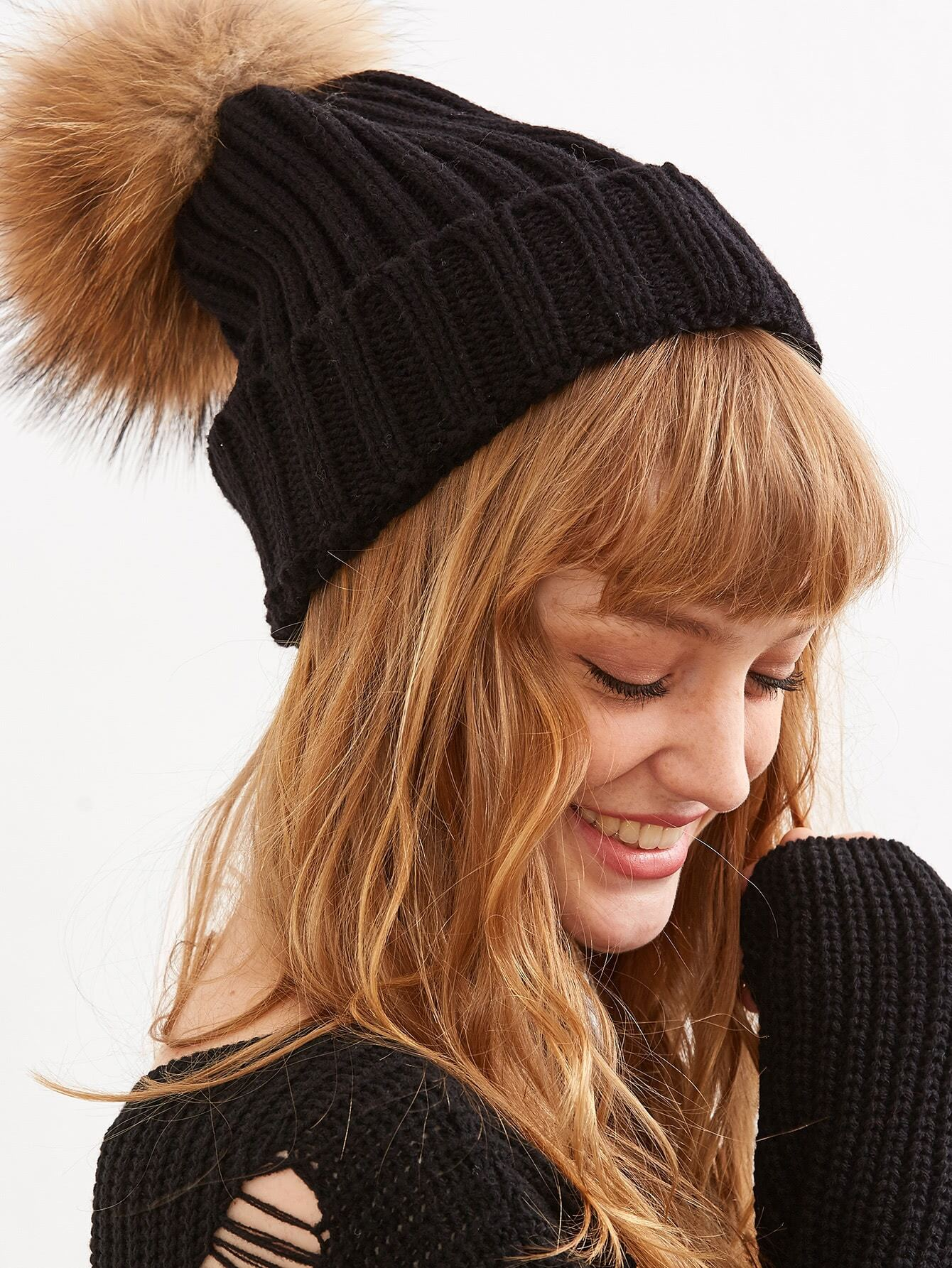 5d8f1dc26e Black Detachable Fur Pom Ribbed Knit Beanie -SheIn(Sheinside)