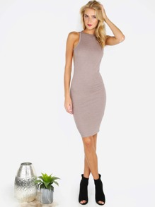 Coffee Open Back Sleeveless Bodycon Dress