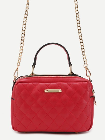Red Quilted PU Handbag With Gold Chain