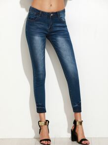 Blue Bleached Skinny Denim Pants