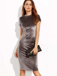 Brown Velvet Sheath Dress