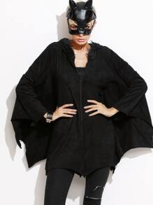 Black Zipper Hooded Coat Halloween Costumes With Batwing Sleeve