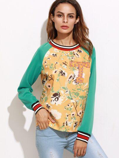 Color Block Flower Print Striped Trim Sweatshirt