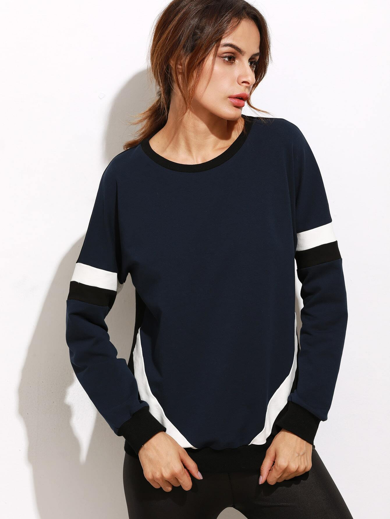 Color Block Ribbed Trim Sweatshirt sweatshirt160929703