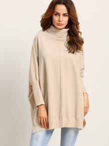 Apricot Turtleneck Slit Side Batwing Sweater
