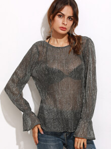 Grey Bell Cuff Pleated Sheer Sparkle Top