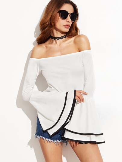 White Contrast Binding Bell Sleeve Off The Shoulder Top