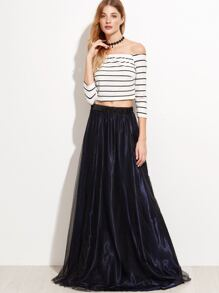 Striped Off The Shoulder Top With Mesh Skirt