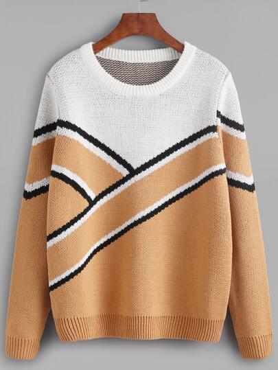 Color Block Wide Stripe Pattern Sweater