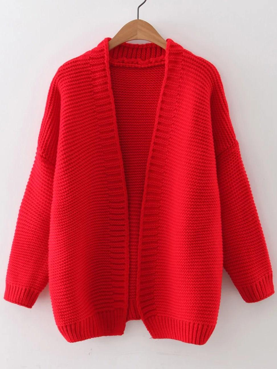 Red Open Front Drop Shoulder Cardigan sweater160922222