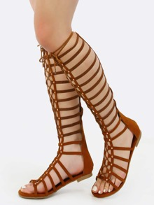 Studded Elastic Gladiator Sandals COGNAC