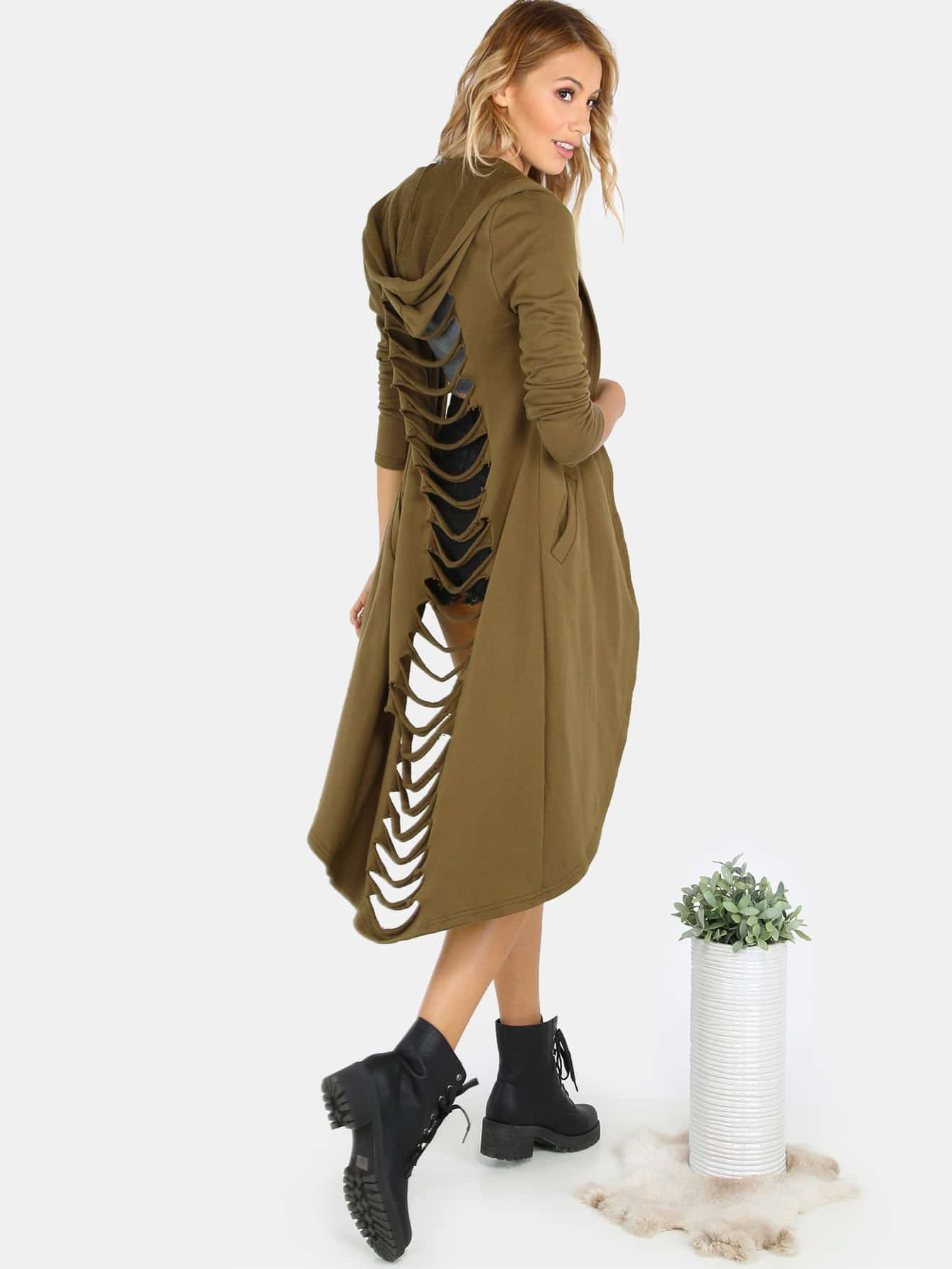 Slashed Open Front Hooded Sweat Coat OLIVE GREENSlashed Open Front Hooded Sweat Coat OLIVE GREEN<br><br>color: Green<br>size: L,M,S,XS