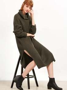 Turtleneck Drop Shoulder Split Side Sweater Dress