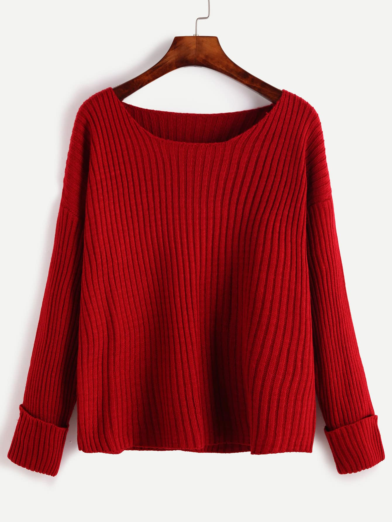 Red Ribbed Knit Drop Shoulder Sweater sweater160929455
